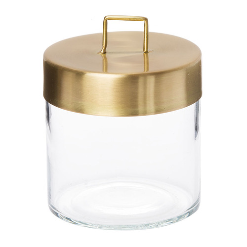 Glass Jar - Medium Brass