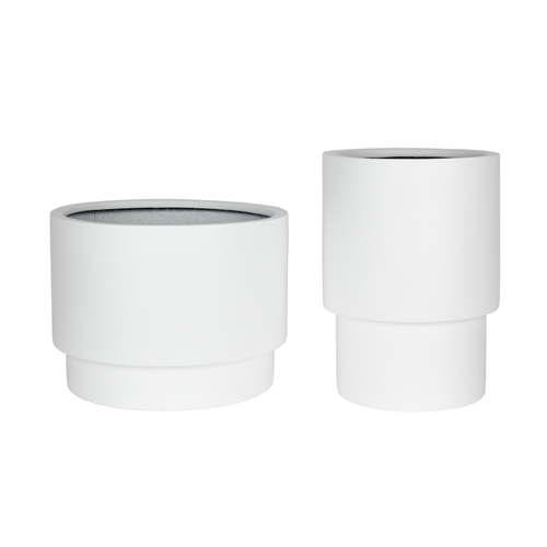 Tower Pot Set of 2 - Matte White