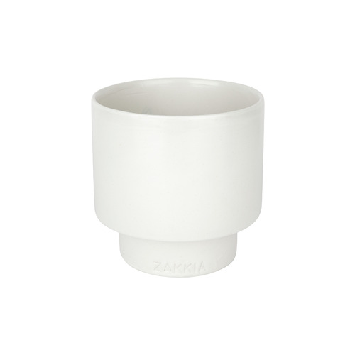 Podium Pot - Medium Glazed White